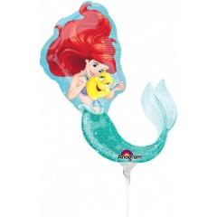 Balon mini figurina Mica Sirena Ariel, umflat + bat si rozeta, Amscan 33938