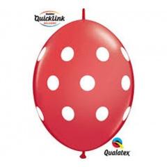 """Baloane Latex Quicklink (Cony) Rosii cu buline albe, 12"""" Qualatex 90560, 10 buc"""