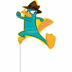 Balon mini figurina Phineas & Ferb, umflat + bat si rozeta, Amscan 25361