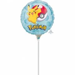 Balon Mini Folie Pokemon + bat si rozeta, Amscan, 23 cm, 36335