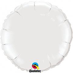 Balon folie metalizat rotund Alb - 45 cm, Qualatex 12921