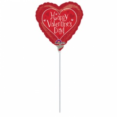 Balon Mini Folie Happy Valentine's Day + bat si rozeta, Amscan, 23 cm, 32255