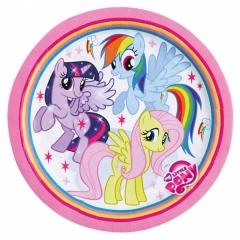 Farfurii petrecere copii 18 cm My Little Pony curcubeu, Amscan 998466, Set 8 buc