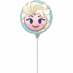 Balon Mini Folie Emoticon Elsa Frozen + bat si rozeta, Amscan, 23 cm, 36373