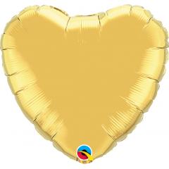 Balon mini figurina inima auriu - 23 cm, Qualatex 36334
