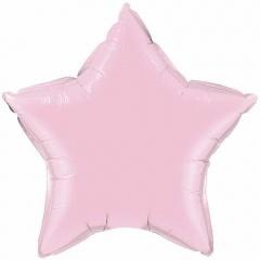 Balon Mini Folie Stea Pearl Pink - 23 cm, umflat + bat si rozeta, Qualatex 54797