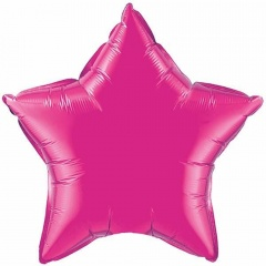 Balon Mini Folie Magenta Stea- 23 cm, umflat + bat si rozeta,Qualatex 99344