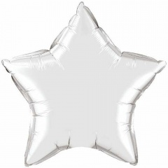 Balon Mini Folie Stea Silver - 23 cm, umflat + bat si rozeta, Qualatex 22466