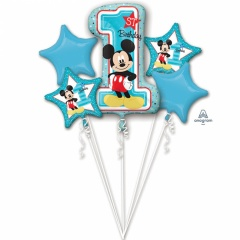 Mickey Mouse 1st Birthday Bouquets Foil Balloons, Radar 34341, 5 pieces
