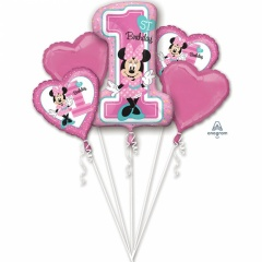 Buchet Baloane Minnie Mouse 1st birthday, Amscan 34379, set 5 bucati