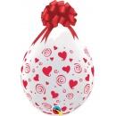 3' Printed Jumbo Latex Balloons, Big Polka Dots-A-Round Diamond Clear, Qualatex 33376, Pack of 2 pieces