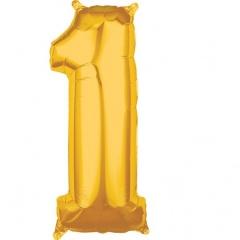 Balon Folie Cifra 1 Auriu - 66cm, Amscan 36552
