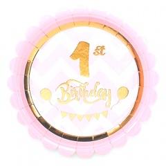 Farfurii carton pentru petrecere 1st birthday - 18 cm, Radar 63852, set 8 bucati