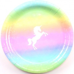 Farfurii carton pentru petrecere Unicorn - 18 cm, Radar 63861, set 8 bucati