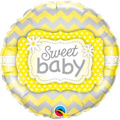 Balon Folie 45 cm Sweet Baby Yellow Patterns, Qualatex 25856