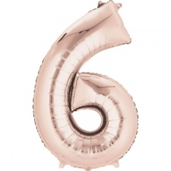 66 cm Rose Gold Number 6 Shaped Foil Balloon, Amscan 36601