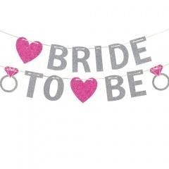 Banner cu sclipici pentru petrecerea burlacitelor - Bride to Be,  365 x 12.7 cm, Amscan 9900536