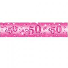 Banner decorativ roz pentru petrecere 50 ani - 2.6 m, Qualatex 45563