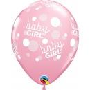 Baloane latex 12''- Baby Girl Dots, Qualatex 57603, Set 6 buc