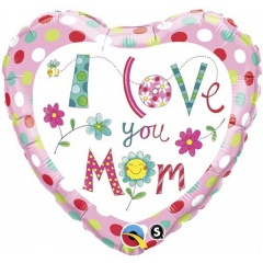 Balon Folie 45 cm I love you mom flowers, Qualatex 78282