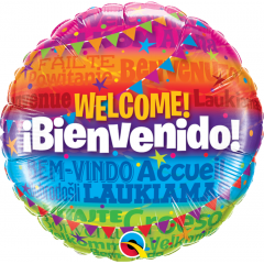 Balon Folie 45 cm Rotund - Welcome/ Bienvenido, Qualatex 14815