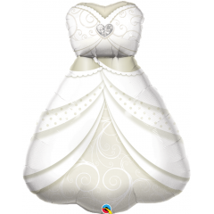 Balon Folie Figurina Rochie Mireasa - 99 cm, Qualatex 57367