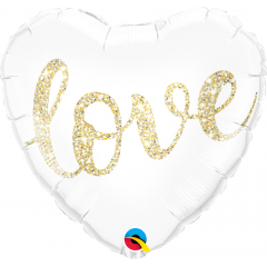 Balon Folie 45 cm Inima Glitter - Love, Qualatex 57322