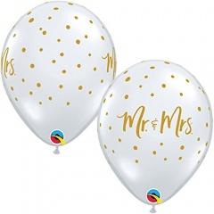 "11"" Printed Latex Balloons Diamond Clear Mr & Mrs Wedding, Qualatex 18654"