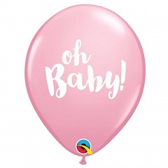 "Baloane latex 11""/28cm Pink - Oh Baby, Qualatex 58117"