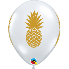 "Baloane latex 11""/28cm Transparent - Ananas, Qualatex 57552"