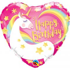 Balon Folie 45 cm Inima Unicorn - Happy Birthday, Qualatex 57319