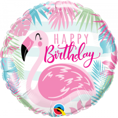 Balon Folie 45 cm Flamingo- Happy Birthday, Qualatex 57274