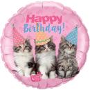 Balon Folie 45 cm Pisici- Happy Birthday, Qualatex 57623