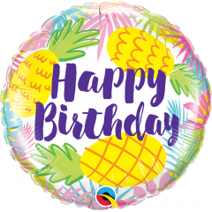 Balon Folie 45 cm Ananas- Happy Birthday, Qualatex 57268