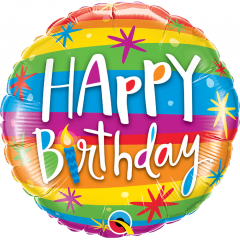 Balon Folie 45 cm Rainbow- Happy Birthday, Qualatex 49043