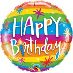 Balon Folie 45 cm Rainbow- Happy Birthday, Qualatex 49043