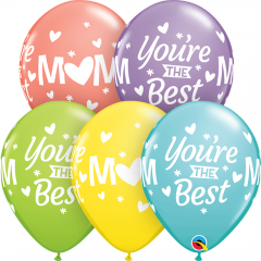"""11"""" Mum, You're The Best, Printed Latex Balloons, Qualatex 24366"""