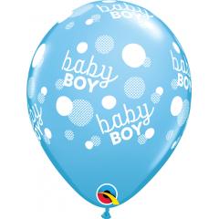 "Baloane latex 11""/28 cm Blue - Baby Boy Dots, Qualatex 57604, Set 6 buc"