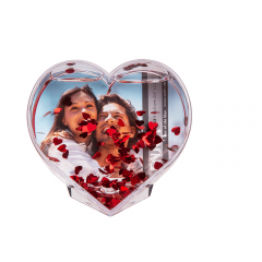 Glob 3D pentru fotografii cu confetti inimioare - 9 x 9 cm, Radar 94/2179