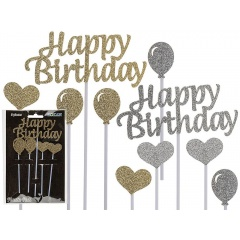 "Betisoare decorative ""Happy birthday"" - 10 cm, Radar 500173, Auriu/Argintiu, 5 buc/set"