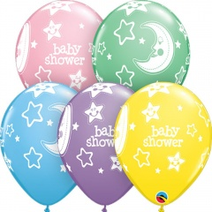 Baloane latex 11''/28cm Baby Shower asortate, Qualatex 18508
