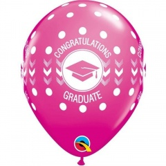 "Baloane latex 11""/28cm Pink - Congratulations - Graduate , Qualatex 48293, 10 buc/set"