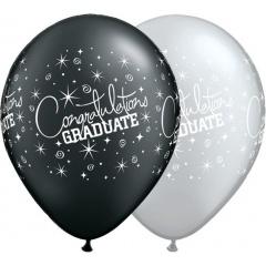 "Baloane latex Sidefate 11"" inscriptionate Congartulations Graduate, Qualatex 35200, Negru/Argintiu"