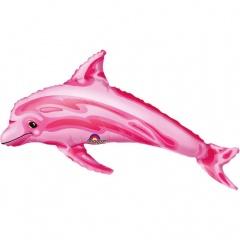 Balon mini figurina Delfin roz -  umflat + bat si rozeta, Amscan 08434
