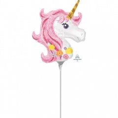 Balon mini figurina Unicorn Magic - 22 x 25cm, umflat + bat si rozeta, Amscan 37275