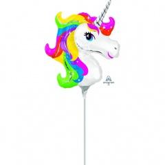 Balon mini figurina Unicorn Curcubeu - umflat + bat si rozeta, Amscan 36395