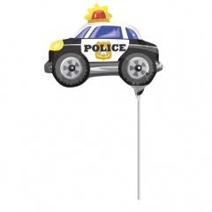 Balon mini figurina Masina de politie - 30x22 cm, umflat + bat si rozeta, Amscan 33674