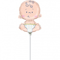 Balon mini figurina Welcome Baby - 17 x 25cm, umflat + bat si rozeta, Amscan 35608