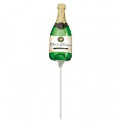 Balon mini figurina Sticla Sampanie -  umflat + bat si rozeta, Amscan 07717