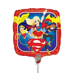 Balon mini folie Super Hero - 23 cm, umflat + bat si rozeta, Amscan 33228